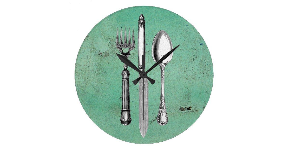 Vintage Utensil Art Large Clock Zazzle Com