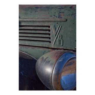 Vintage V8 Car or Truck With Headlight Poster