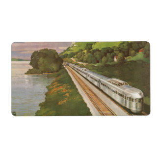 Vintage Vacation by Train, Locomotive in Country Label