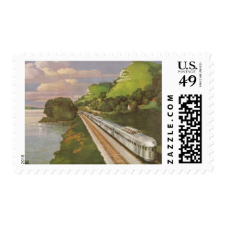 Vintage Vacation by Train, Locomotive in Country Postage Stamp