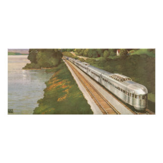 Vintage Vacation by Train, Locomotive in Country Rack Card