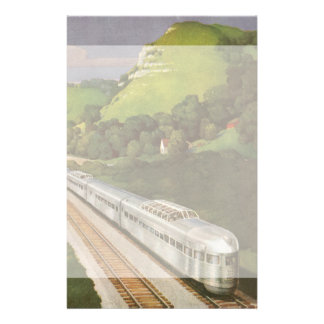 Vintage Vacation by Train, Locomotive in Country Stationery