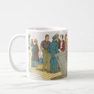 Vintage Vacation, Passengers Cruise Ship on Deck Coffee Mug