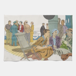 Vintage Vacation, Passengers Cruise Ship on Deck Kitchen Towel