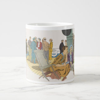 Vintage Vacation, Passengers Cruise Ship on Deck Large Coffee Mug