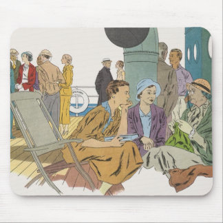 Vintage Vacation, Passengers Cruise Ship on Deck Mouse Pad