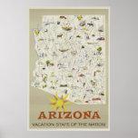 Vintage Vacation State Arizona Travel Poster