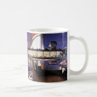Vintage Vacation Travel, Cruise Ship on Pool Deck Coffee Mug