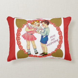 Vintage Valentine 1940's Little Boy and Girl Accent Pillow