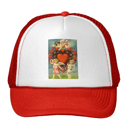 Vintage Valentine 3 Cupids And Red Hearts Trucker Hat