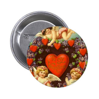 Vintage Valentine 3 Cupids And Red Hearts Pinback Button