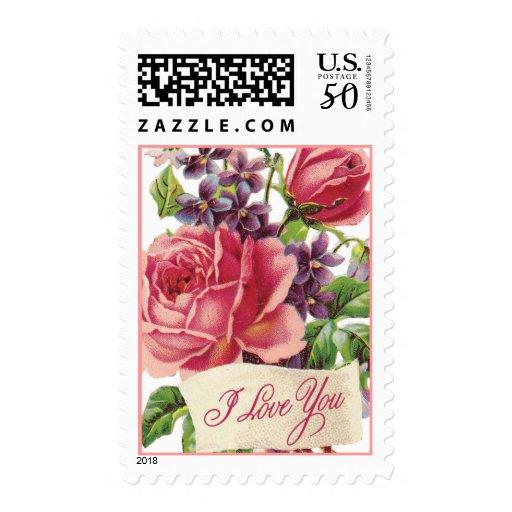 Vintage Valentine I Love You Postage Stamps