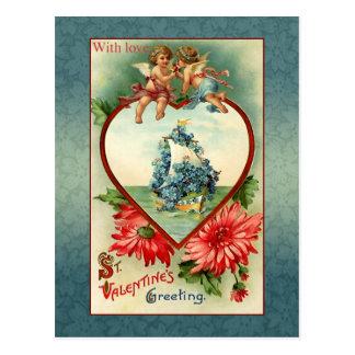 Vintage Valentine Angels and Forget-Me-Nots Postcard
