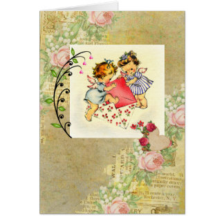 Vintage Valentine Angels and Hearts Collage Card