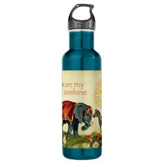 Vintage Valentine Animals in Love Collage Stainless Steel Water Bottle
