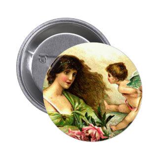 Vintage Valentine Aphrodite And Cupid Pinback Button