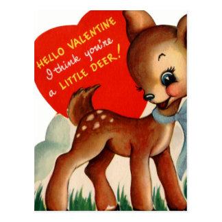 Vintage Valentine Baby Deer Postcard