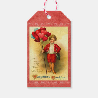 Vintage Valentine Balloon Greetings Hanging Cards Pack Of Gift Tags