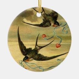 Vintage Valentine Barn Swallows Ceramic Ornament