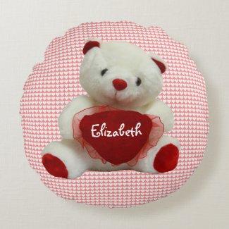 Vintage Valentine Bear With Heart Round Pillow