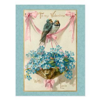 Vintage Valentine Birds and Forget Me Nots Postcard