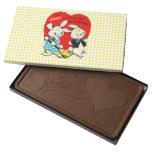 Vintage Valentine Bunny Rabbits in Love Humor Cute Milk Chocolate Bar