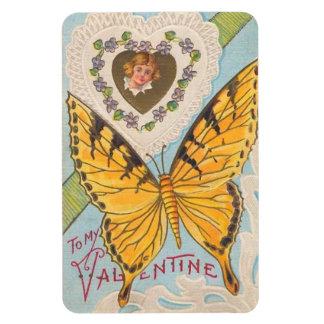 Vintage Valentine Butterfly Rectangular Photo Magnet