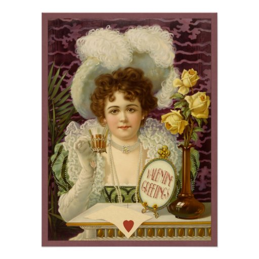 Vintage Valentine Café Girl CC0354 Poster