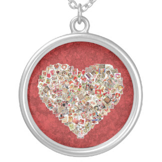 Vintage Valentine Card Heart Collage on Red Necklaces