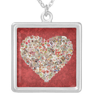Vintage Valentine Card Heart Collage on Red Silver Plated Necklace