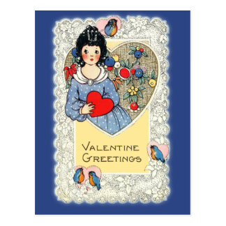 Vintage Valentine Card with Bluebirds Post Cards