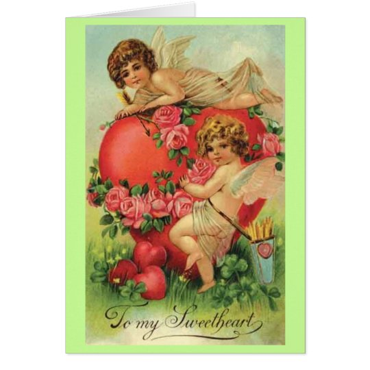 Vintage Valentine card with Cupids