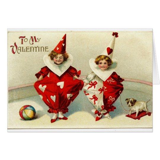 Vintage Valentine Card with Kids, Clowns