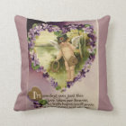 Vintage Valentine Cherub and Violets Reversible Throw Pillow