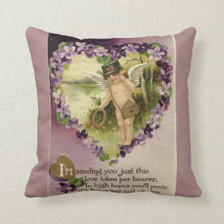Vintage Valentine Cherub and Violets Reversible Throw Pillow