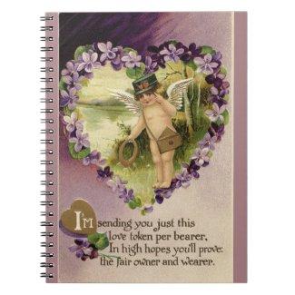 Vintage Valentine Cherub and Violets Spiral Notebook