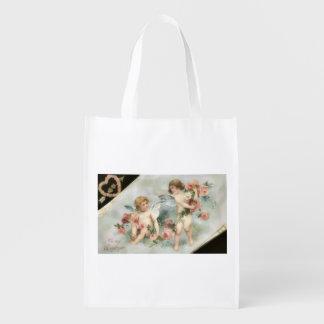 Vintage Valentine Cherub Reusable Grocery Bag