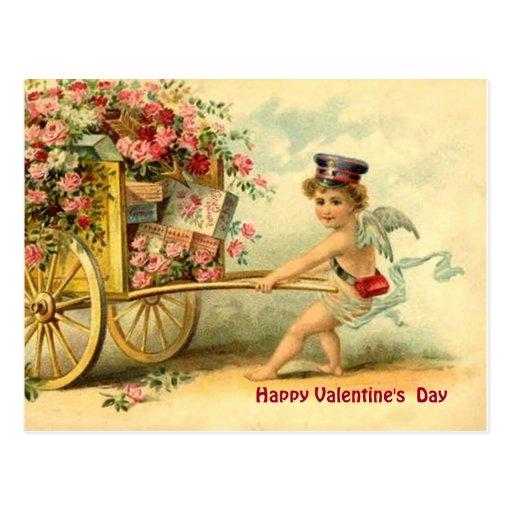 Vintage Valentine Cherub & Wagon of Gifts & Roses Postcard