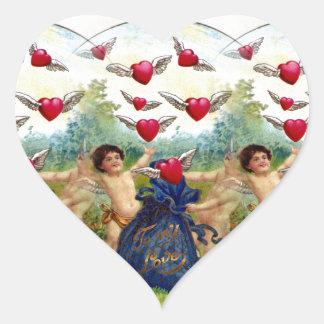 Vintage Valentine Cherubs Heart Sticker