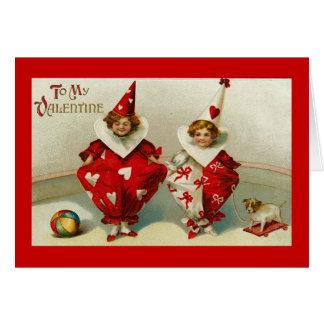 Vintage Valentine Child Clowns Card