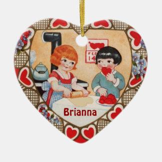 Vintage Valentine Cookie Making Scene Ornament