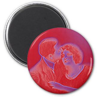 Vintage Valentine Couple in Red Magnet