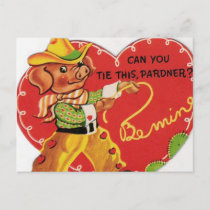 Vintage Valentine Cowboy Hog Holiday Postcard