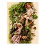 Vintage - Valentine - Cupid & Couple Postcard