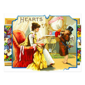 Vintage Valentine Cupid Lights Cigar w/ Heart Love Postcards