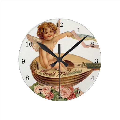 Vintage Valentine Cupid Loves Melodies Clocks