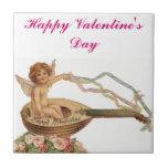 Vintage Valentine Cupid Loves Melodies Ceramic Tiles