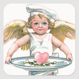 Vintage Valentine Cupid the Cook Square Sticker
