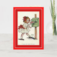 Vintage Valentine ~ Cute Girl Mailing Her Valentin Greeting Card