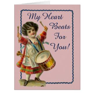 Vintage Valentine Drummer Girl Card